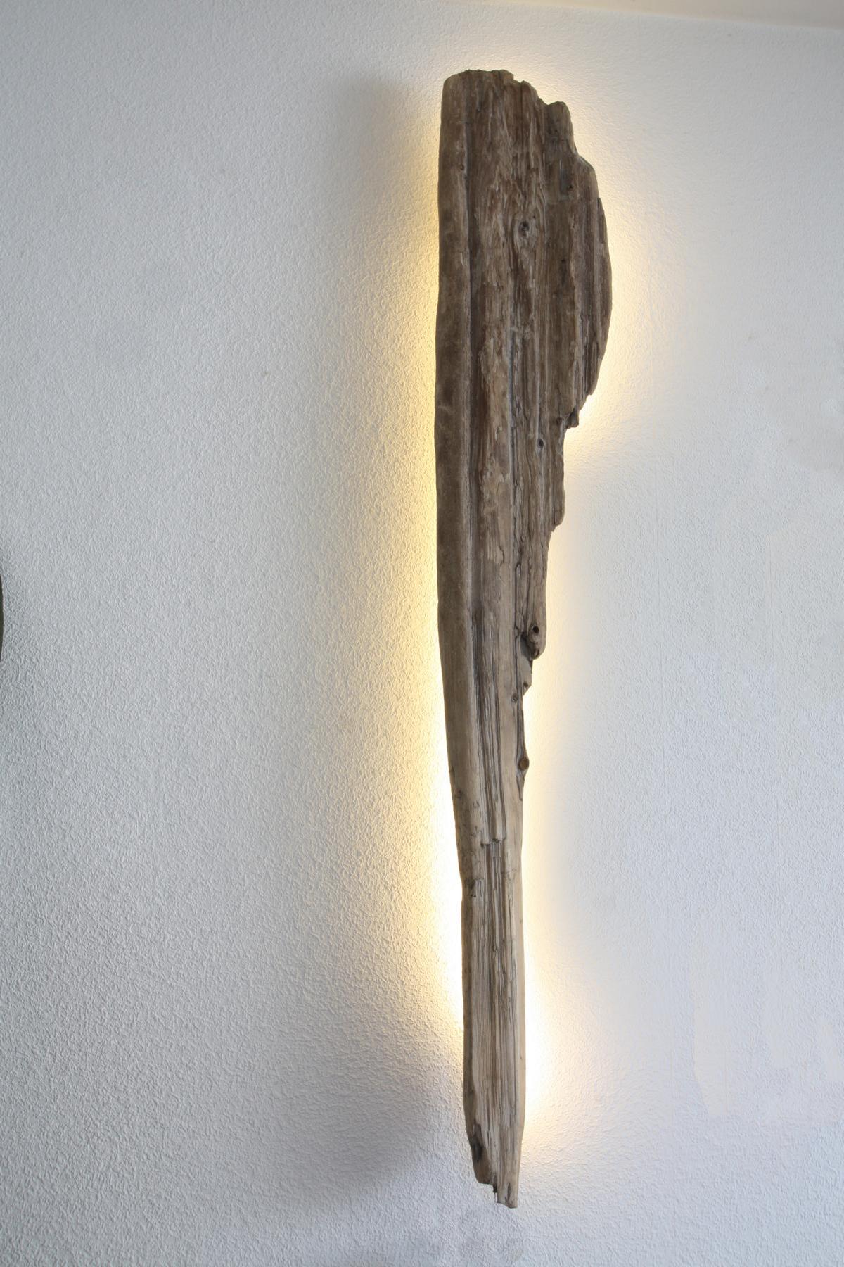 Treibholz Wandlampe - www.treibholz-bodensee.de - Holz